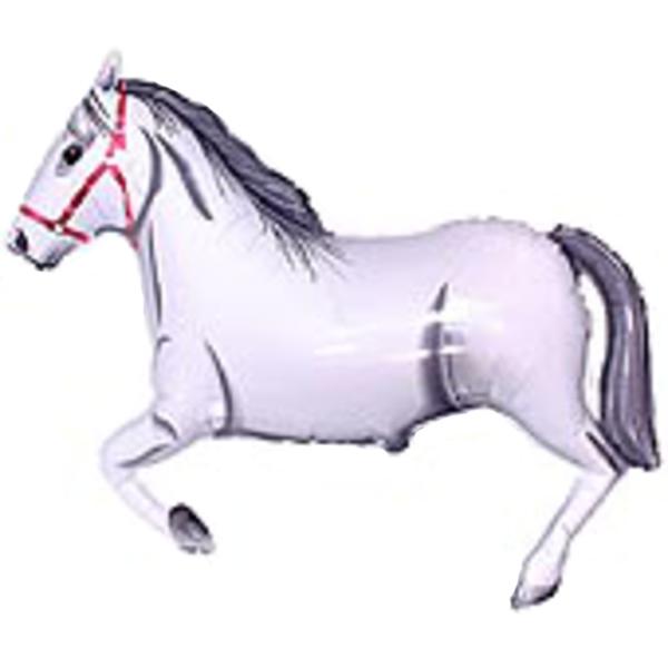 Fólia lufi, nagyforma, ló, fehér, 84 cm