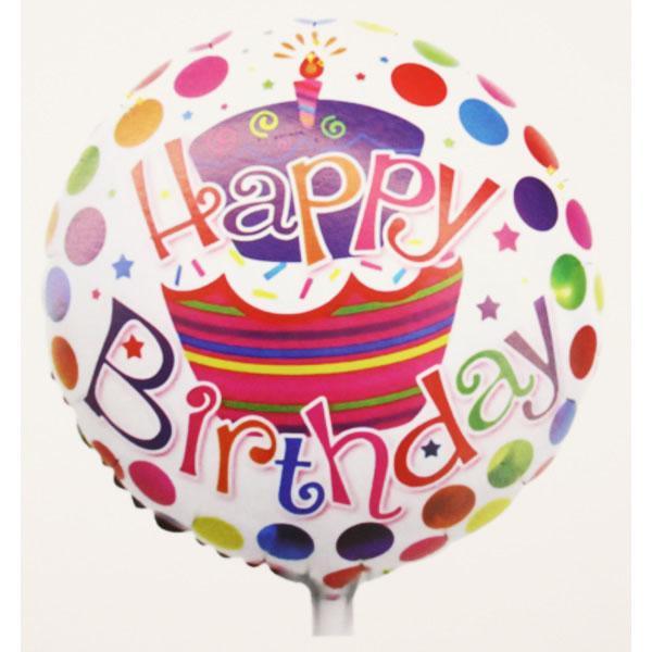 Happy Birthday, fehér, pöttyös, fólia lufi, 18