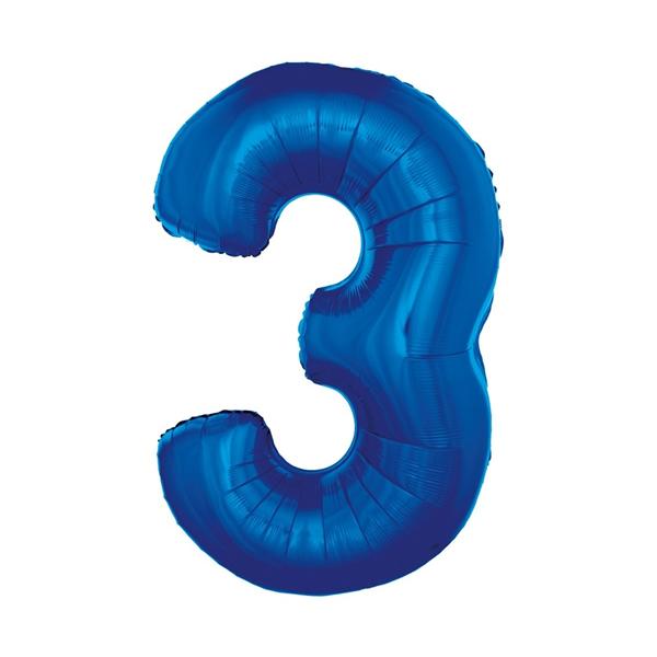 3. szám, fólia lufi, 92 cm, kék