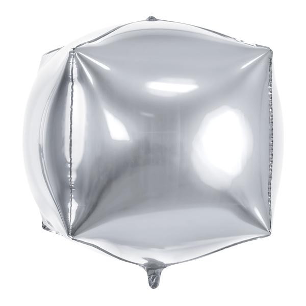 Kocka alakú ezüst fólia lufi, 35cm