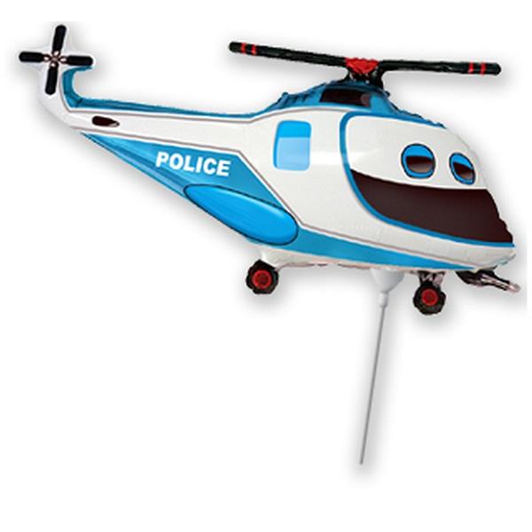 Fólia lufi, mini forma, helikopter, rendőr, kb.42cm