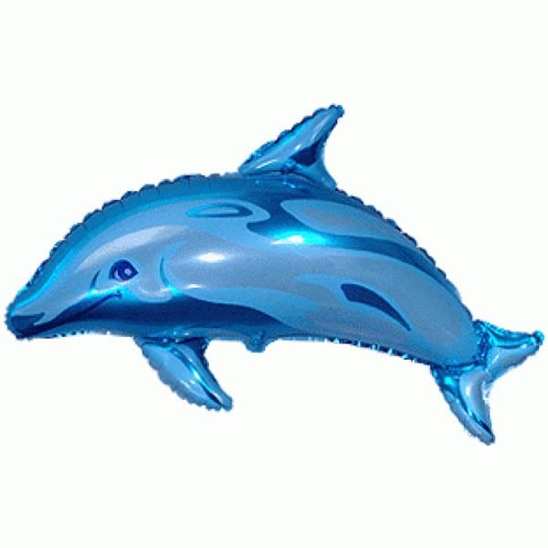 Fólia lufi, nagyforma, delfin, kék, kb. 95cm
