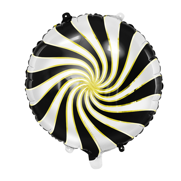 Fekete-fehér-arany csíkos fólia lufi, 14