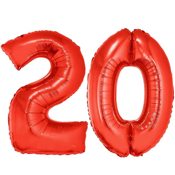 20-as piros szám fólia lufi