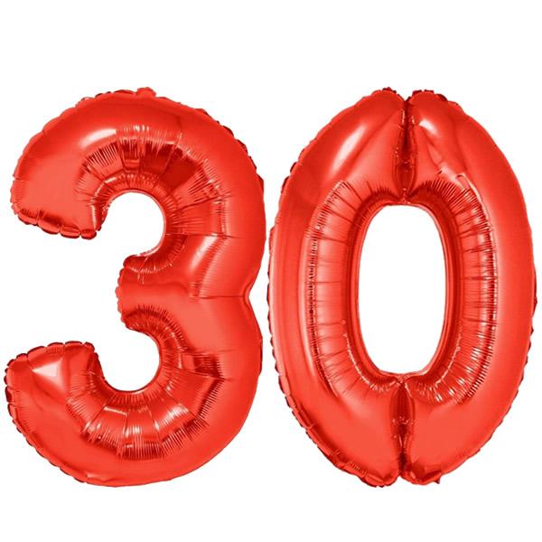 30-as piros szám fólia lufi