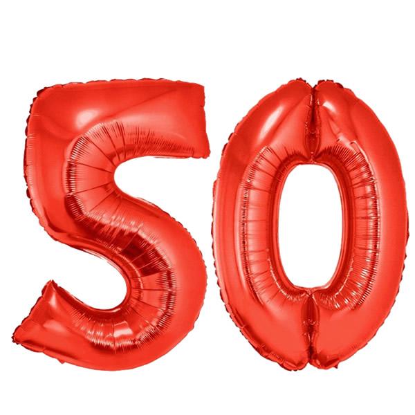 50-es piros szám fólia lufi