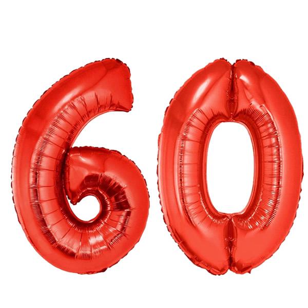 60-as piros szám fólia lufi