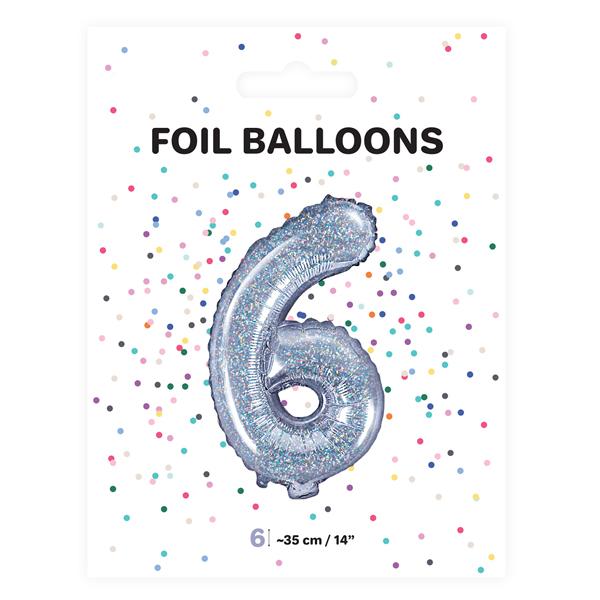 6. szám, fólia lufi, 35 cm, ezüst, hologramos
