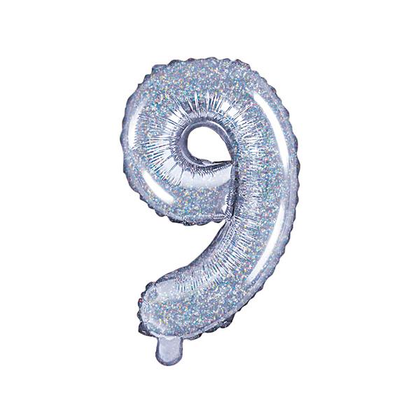 9. szám, fólia lufi, 35 cm, ezüst, hologramos