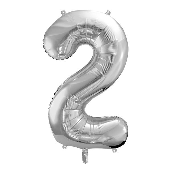 2. szám, fólia lufi, 86 cm,  ezüst