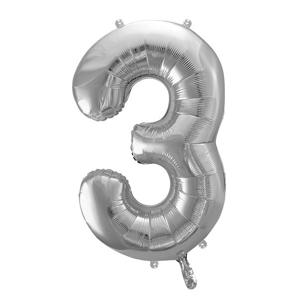 3. szám, fólia lufi, ezüst, 86 cm