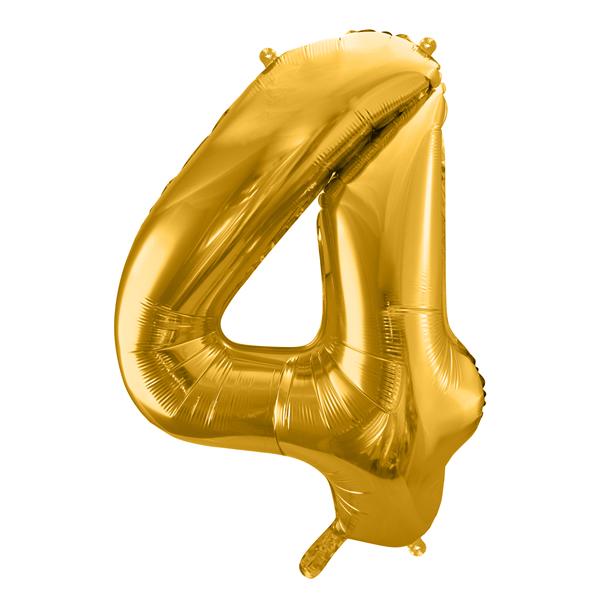 4. szám, fólia lufi, 86 cm, arany, tasakban