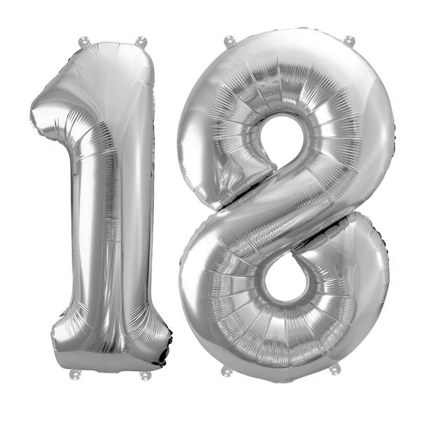 18-as ezüst szám fólia lufi