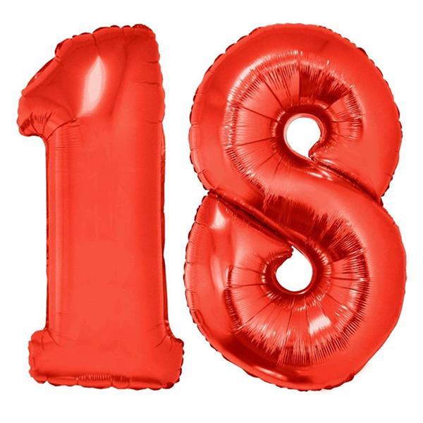 18-as piros szám fólia