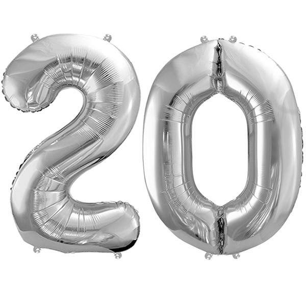 20-as ezüst szám fólia lufi