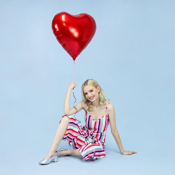 Fólia lufi, Szív alakú piros, 24