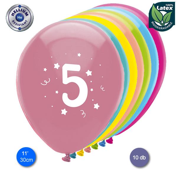 Lufi, évszámos (5),  10 db/cs/vegyes színekben
