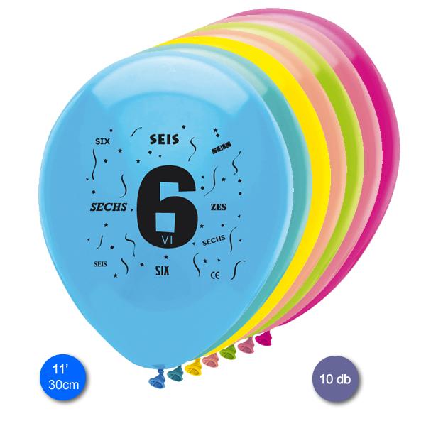 Lufi, évszámos (6),  10 db/cs/vegyes színekben