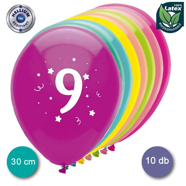 Lufi, évszámos (9),  10 db/cs/vegyes színekben