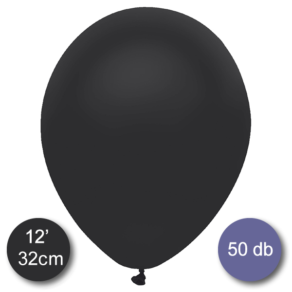 Lufi (metál) fekete, 32cm, 100 db/cs