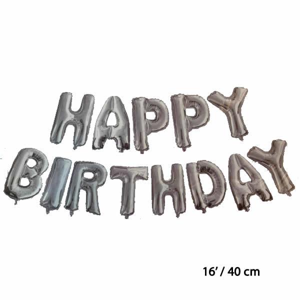 Happy Birthday betűk, ezüst, Fólia lufi