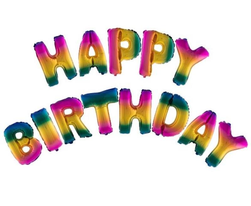 Fólia lufi , Happy Birthday betűk, szivárványos