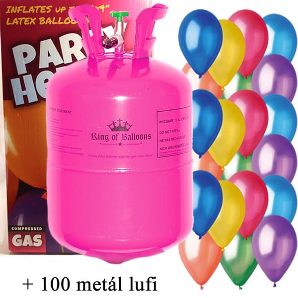 Hélium 100 léggömb felfújására + 100 metál léggömb