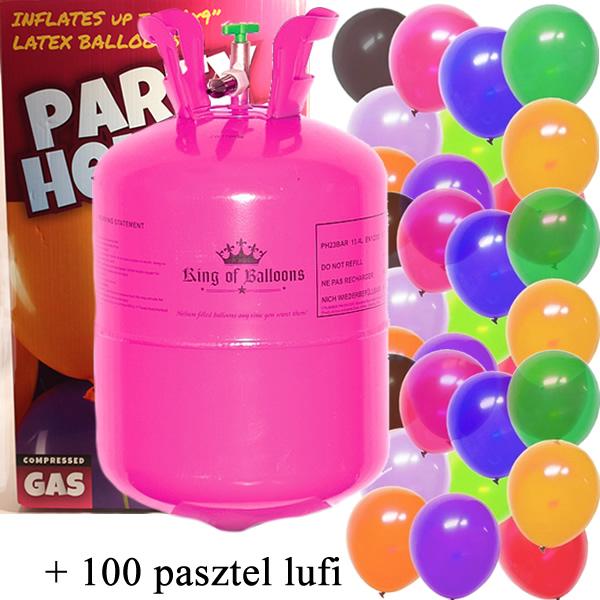 Hélium 100 léggömb felfújására + 100 pasztel léggömb