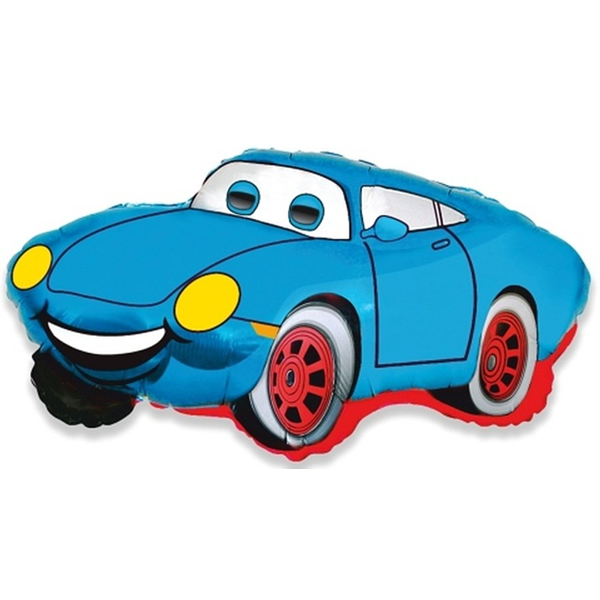 Fólia lufi, mini forma, kék autó, kb. 35 cm