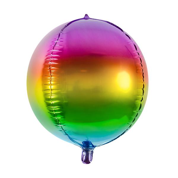 Gömb metál fólia lufi, szivárvány színben, 40cm