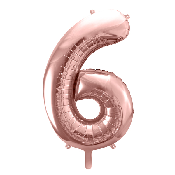 6. szám, fólia lufi, 86 cm, rosegold