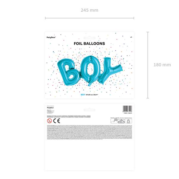 Fólia lufi, BOY felirat, 67X29cm