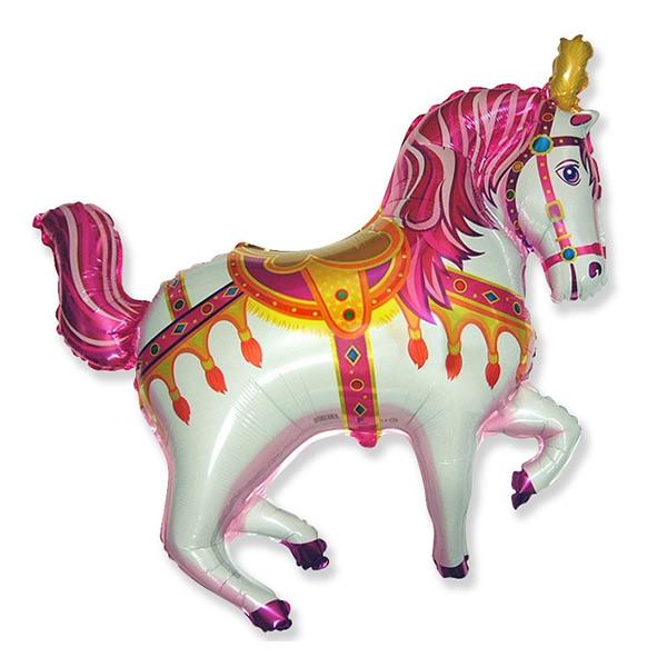 Fólia lufi, nagyforma, cirkuszos ló, pink, 24