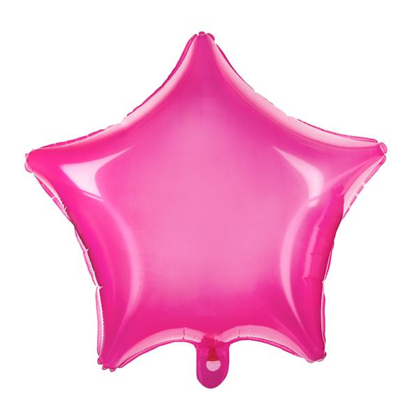 Csillag alakú pink fólia lufi, átlátszó, 19