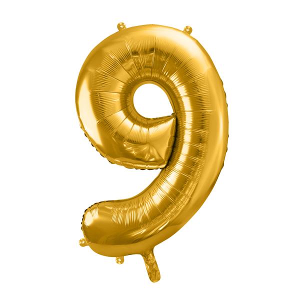 9. szám, fólia lufi, 86 cm, tasakban, arany