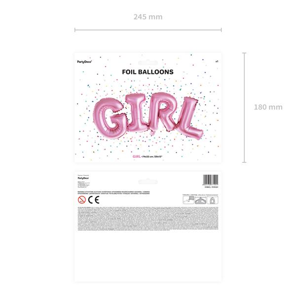 Fólia lufi, GIRL felirat, pink, 74 X 33cm