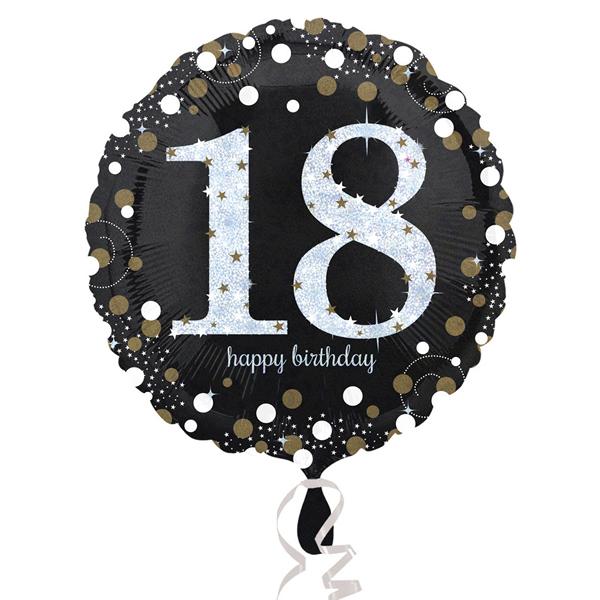 18. évszámos fólia lufi, gömb, HB, fekete
