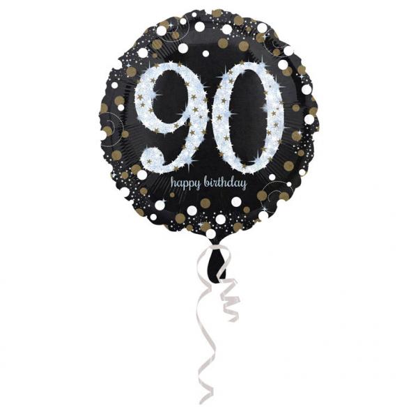90. évszámos fólia lufi, gömb, HB, fekete