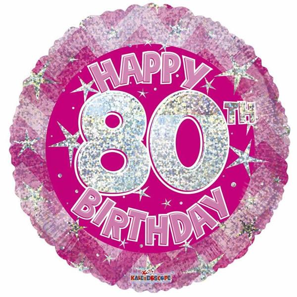 80. Évszámos lufi, hologramos pink fólia, happy b.
