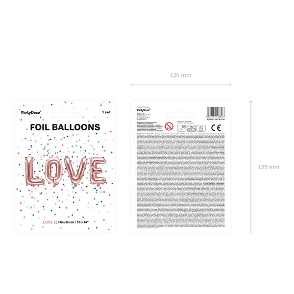 LOVE felirat, fólia lufi, 140 X 35cm, rosegold