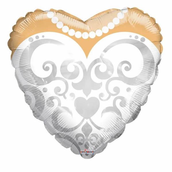 Esküvői szív alakú fólia lufi, menyasszonyi ruha mintával, 46 cm