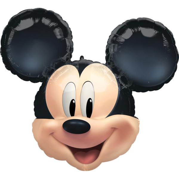 Fólia lufi,  fekete, Mickey fej, 63x55 cm,