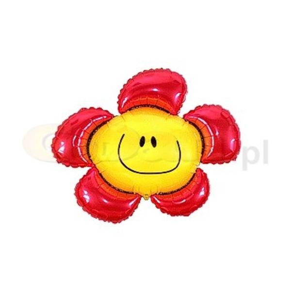 Fólia lufi,  mini forma, piros mosolygó virág, 35 cm
