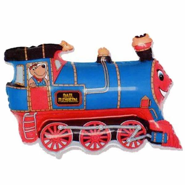 Fólia lufi, mini forma, vonat, kék 14