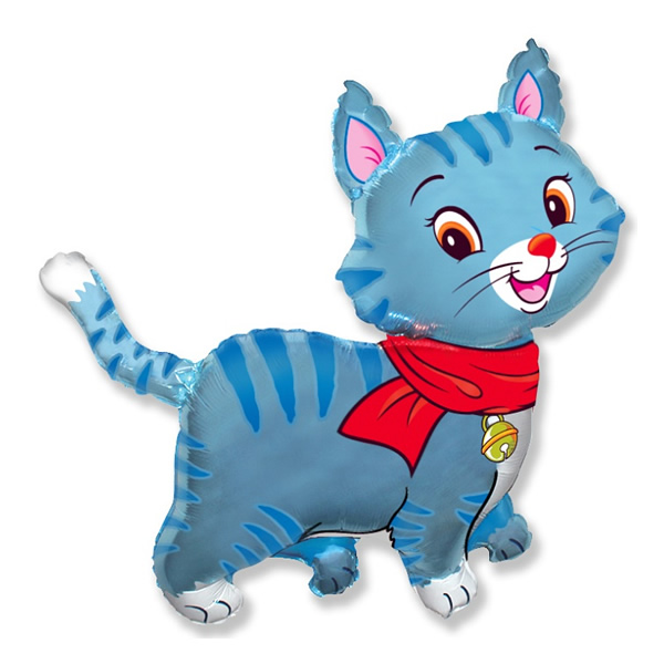 Fólia lufi, nagyforma, cica, kék, 24