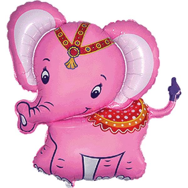Fólia lufi, nagyforma, elefánt, pink, kb 80cm