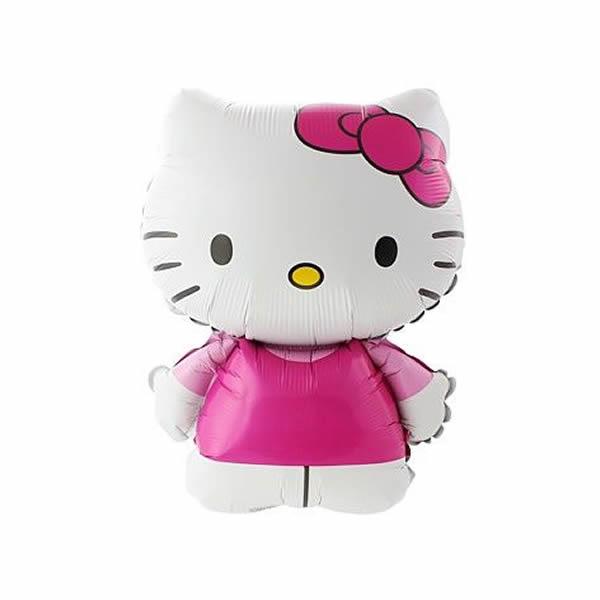 Fólia lufi, Hello Kitty, rózsaszín ruhás, nagyforma kb. 80 cm