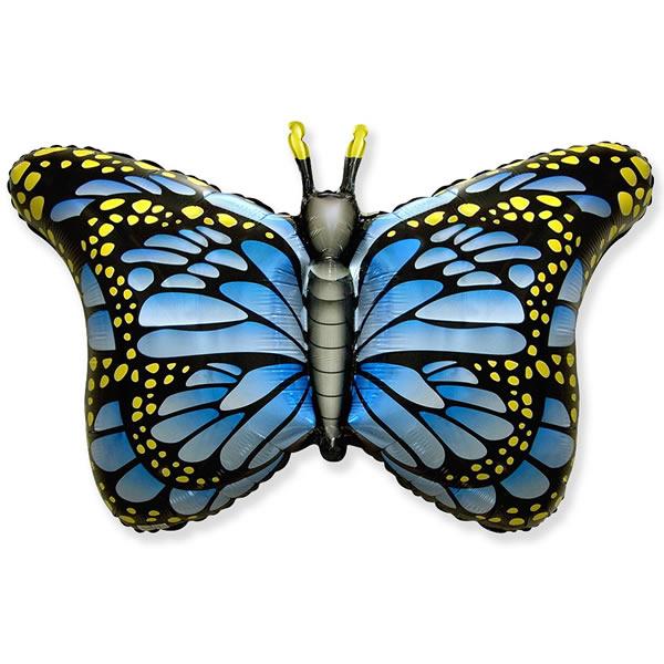 Fólia lufi, nagyforma, pillangó, kék, 24