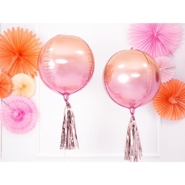 Ombre gömb metál fólia lufi, pink és narancs, 35cm