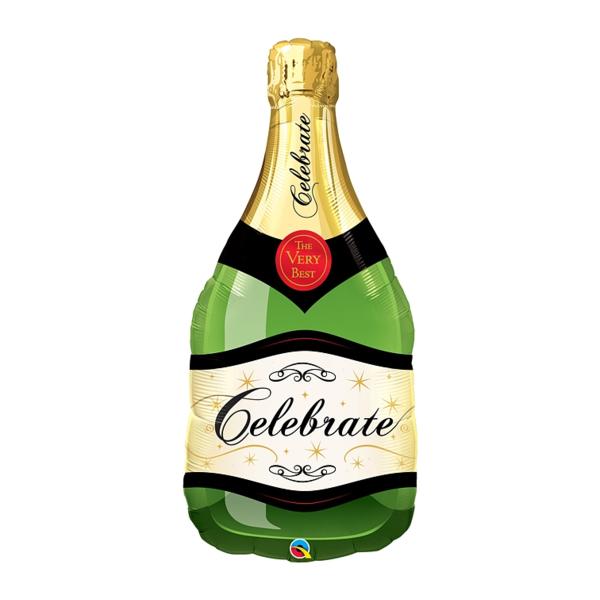 Pezsgős üveg, kb. 100 cm,  fólia lufi, Celebrate , zöld